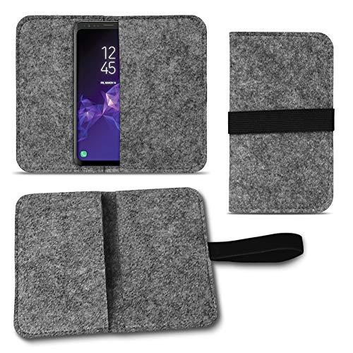 UC-Express Filz Tasche kompatibel für Samsung Galaxy S20 S10 S9 Lite Plus A40 A41 A21 A21s A51 Hülle Cover Handy Case Schutzhülle, Farben:Dunkel Grau