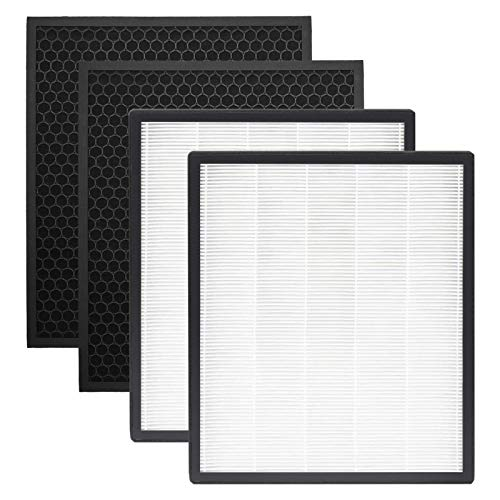 RONGJU Replacement HEPA Filter Compatible with LEVOIT Air Purifier LV-PUR131, LV-PUR131S, LV-PUR131-RF, 2 HEPA Filters + 2 Activated Carbon Filters
