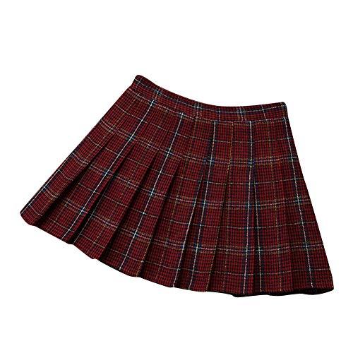 ZhuiKunA Mujeres Falda Escocesa Plisada Escuela Uniforme Tartán Cuadros Cintura Alta Rojo S