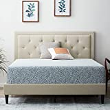 LUCID Upholstered Bed with Diamond Tufted Headboard-Sturdy Wood Build-No Box Spring Required Platform, Twin, Pearl