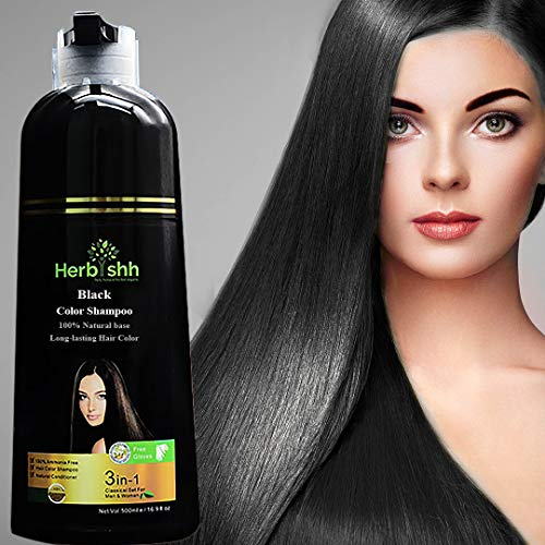 Herbishh Hair Color Shampoo for Gray Hair – Natural Hair Dye Shampoo – Colors Hair in Minutes – Lasts Up To 3-4 Weeks – 500 Ml – 3-In-1 Hair Color – Ammonia-Free   Herbishh (Black)