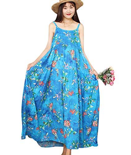 YESNO Damen Sommerkleider Boho Kleid Swing Strandkleid Rundhals Lang Maxikleid E75DE (2XL, CR80 Blau)