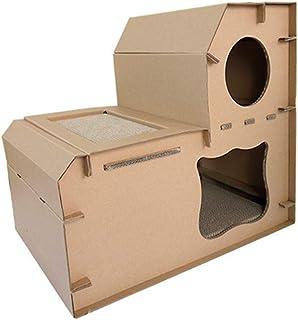 POPETPOP Muebles para Gatos Cartón Resistente a los arañazos Casa de Mascotas de Bricolaje Salón de Dos Capas Juego de Mascotas Juegos para Dormir Cat Cat
