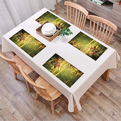 Platzsets Rutschfest, 4er Set Platzset, Abwaschbar Tischsets,Fuchs fuchs im sommer wald frische wiese gra,Hitzebeständig Platzdeckchen,Schmutzabweisend und Waschbare,Platz-Matten für Küche Speisetisch
