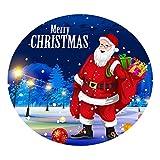 F Fityle Mantel para Mesa de Cocina Redondas 1.2M Tela a Prueba de Polvo, Tema Navideño - Santa con regalos