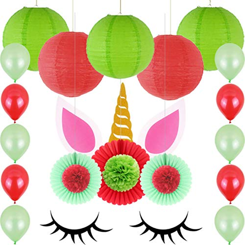 Party Paper Decorations 1 Set Multi-Piece Mixed Unicorn Decoration Birthday Party Paper Pom Poms Flowers Round Lanterns Balloon Kids Adult Backdrop DIY
