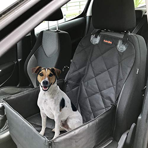 Pawzitive Petz Dog Car Seat Covers and Protects, Pet Seat Belt inc. – 2 in 1 Durable Waterproof Dog Seat Cover/Hammock