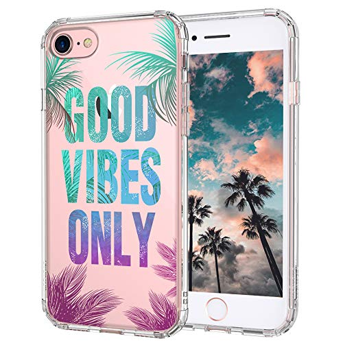 iPhone 7 Case, iPhone 8 Case, iPhone 7 Clear Case, MOSNOVO Good Vibes Only Tropical Leaves Quotes Clear Design Transparent Plastic Back Case Cover with TPU Bumper for iPhone 7 (2016) / iPhone 8 (2017)