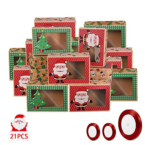 Scatole Regalo Di Natale Con Finestra,Scatole Per Dolciumi Trasparenti,Confezione in Scatola Di Cartone Con Finestra,Scatole Per Biscotti Cartone,Scatole Per Biscotti Di Natale