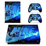 Adventure Games - XBOX ONE X - Nike, Blue Lightning - Vinyl Console Skin Decal Sticker + 2 Controller Skins Set