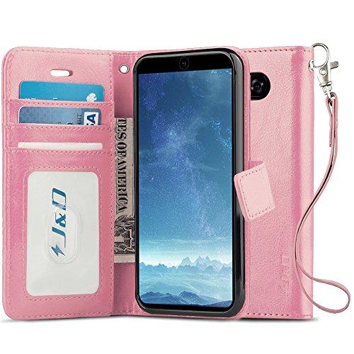 JundD Kompatibel für LG V35/LG V30S/LG V30S ThinQ/LG V30/LG V30 Plus Leder Hülle, [Handytasche mit Standfuß] [Slim Fit] Robust Stoßfest PU Leder Flip Handyhülle Tasche Hülle für LG V35 Hülle - Rosa