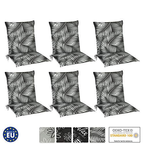 Beautissu Set de 6 Cojines para sillas de Exterior y jardín con Respaldo bajo Tropic 100x50x6 cm tumbonas, mecedoras, Asientos cómodo Acolchado Resistente a Rayos UV