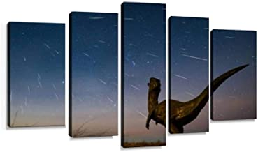 XEPPO Gemini Meteor Shower 2018 Over Dinosaurs in erlianhot, Inner Mongolia, Prints Canvas Wall Art Abstract Landscape Photography Paintings for Modern Home Decor 5Pcs Modern Stretched and Framed