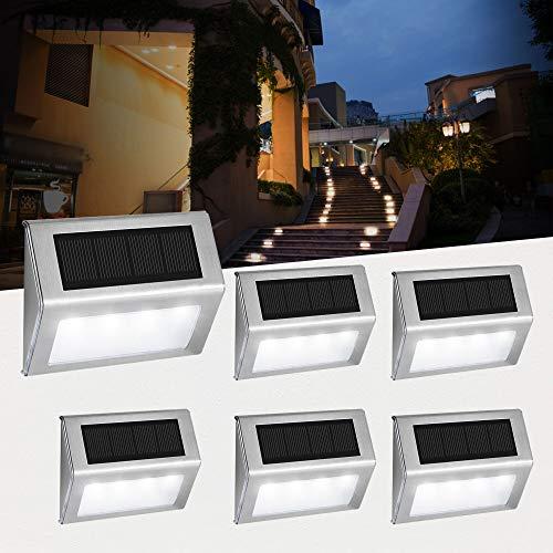 Luces Solares para Exterior Jardín 4 LED Easternstar, Lámparas Solares impermeable IP44 Exterior, Solar Panel del acero inoxidable, 4 LEDs Ilumina a las escaleras, pared,patio y jardín etc 6 unidades