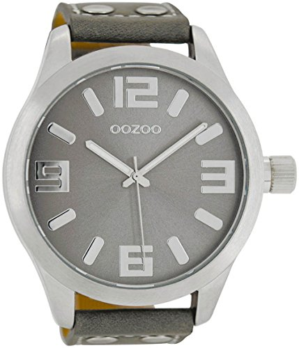 Oozoo XXL Armbanduhr Basic Line mit Lederband 52 MM Silbergrau/Grau C1007