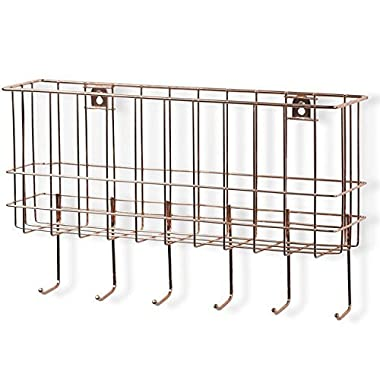 WALL35 Unique Metal Wire Basket - Wall Mounted Entryway Organizer - Key Holder - Coat Rack with Hooks - Mail and Magazine Holder (Copper)