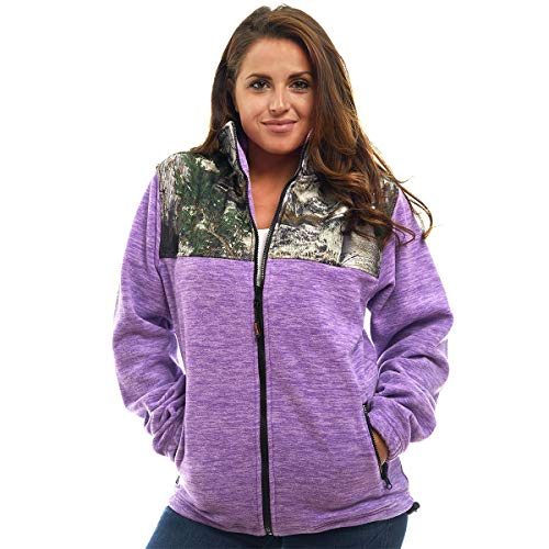 TrailCrest C-Max Polar-Fleecejacke für Damen, mit Reißverschluss und Camouflage-Muster -  Violett -  3X-Groß