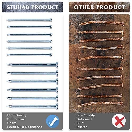 STUHAD Hardware Nails Assortment Kit 400pcs, 7 Size Assortment, Galvanized Nails,nails for hanging pictures
