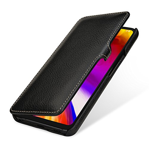 StilGut Book Type Lederhülle für LG G7 ThinQ. Seitlich klappbares Flip-Hülle aus Echtleder, Schwarz mit Clip