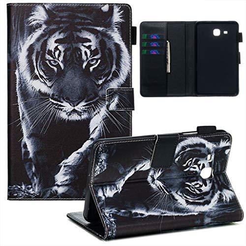 Careynoce Galaxy Tab A 7.0 Hülle,Gemaltes Muster PU Leder Abdeckung Stand Flip Schutzhülle Hüll mit Aufwachen/Schlaf Funktion für Samsung Galaxy Tab A 8.0 SM-T280/T285 - Tiger