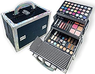 BR Carry All Trunk Train Case with Makeup and Reusable Case Makeup Gift Set (Black)