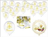Palloncino Mylar Prima Comunione + 20 Palloncini in Lattice 26cm + Coriandoli Comunione - Kit Festa Prima Comunione