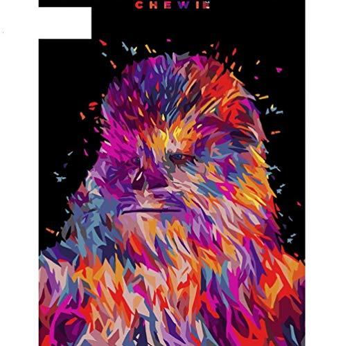 DIY Öl Digitale Malen Nach Zahlen Auf Leinwand Movie Poster Wandkunst Bilder Wohnzimmer Wohnkultur Star Wars Chewie Chewbacca Frameless 40 * 50cm.