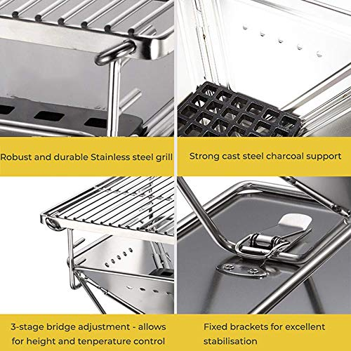 51o2ocOFSJL - ZXIAQI Grill Werkzeug Tragbare Edelstahl BBQ Grill Klapp Grill Im Freien Grill Camping Picknick Grill Zubehör,M