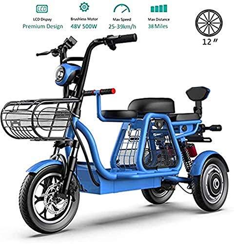 Bici electrica, 3 ruedas Bicicletas eléctricas for adultos, 500W Montaña Scooter eléctrico 48V bicicleta eléctrica con bloqueo eléctrico del asiento rápido cargador de batería de niño Home Shopping Us