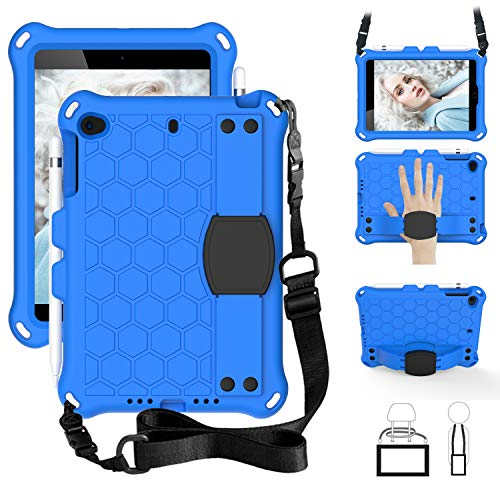 SsHhUu iPad Mini 5 Case for Kids, Shockproof Light Weight Kids Friendly Protective Cover with Pencil Holder, Stand, Shoulder Strap, Hand Strap for iPad Mini 5/4/3/2/1 7.9 Inch - Blue/Black