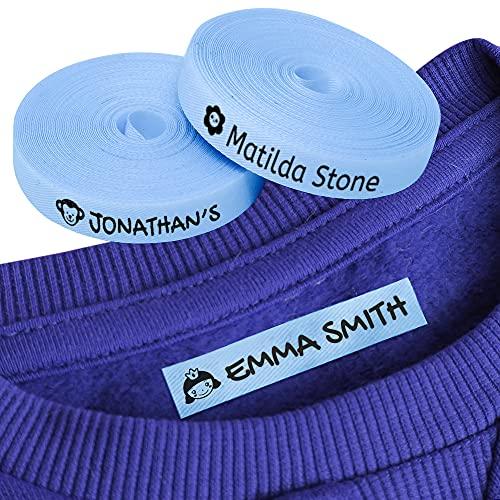 100 Etiquetas Personalizadas con Nombre e Icono para marcar la ropa. Etiquetas de tela Azul termoadhesiva para planchar en camisetas, pantalones, abrigos y todo tipo de prendas de niños.