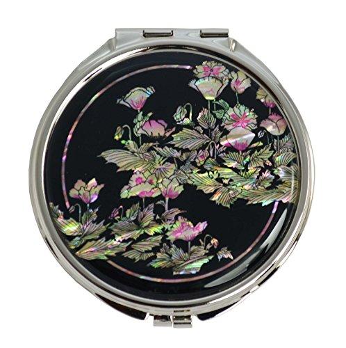 Vergrößerungs Taschenspiegel, Luxus Dekorationen. Natural Permutt, Mohnblumen Blumen design auf schwarzem Hintergrund. Doppelspiegel.