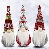 Weihnachtswichtel (3 Stk) - 31 x 13,5 cm Wichtel Figuren Nikolaus aus Plüsch Kantenhocker Weihnachts Zwerg Tischdeko Weihnachten - Schwedische Wichtel Puppe Dekofigur für Kamin, Weihnachtsdeko