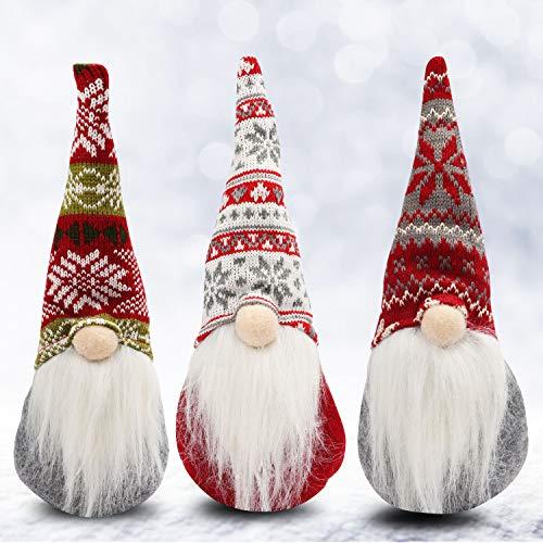 Gnomi Natalizi (3pz)- Pupazzi Natalizi Seduti da 31x13,5cm per Decorazioni Natalizie per la Casa - Gnomo di Natale per Caminetto - Peluche Natale per Decorazioni Tavola per Natale - Folletto di Natale