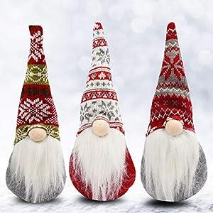 Gnomos Navidad (Pack de 3) 31 x 13,5 cm Adornos de Navidad Peluches Papá Noel Nomo Sentado Decoración de Mesa - Gnomo Escandinavo para Chimenea Elfo Fiesta Decor Mesa Muñeco Regalos Peluche navidad