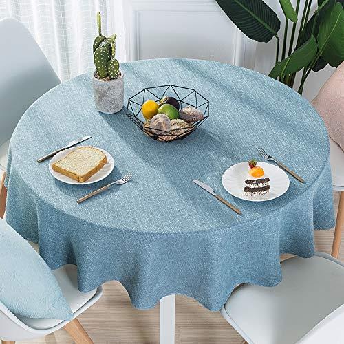 DJUX Moderno Simple algodón y Lino pequeño Mantel Fresco hogar Mantel Redondo de Color Puro Mantel de Mesa Redonda Grande 120cm