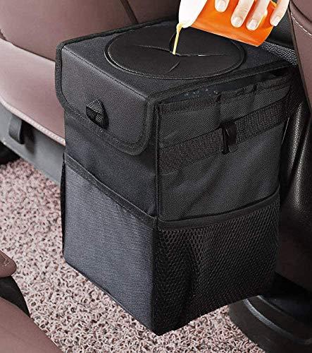 Auto Mülleimer mit Deckel,6L Wasserdicht Auslaufsicher Abfalltasche Auto,KFZ Abfallbehälter mit Abnehmbar Waschbar Innenbeutel,Zusammenfaltbare Abfall-Tasche,Auto Organizer Tasche für alle Autos