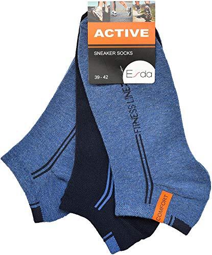 Esda - Herren Sneaker Socke ''Active'' jeans-marine-jeans 3er Pack 39/42