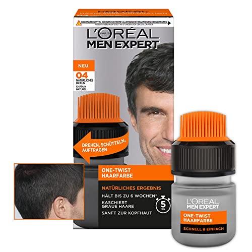 L\'Oréal Men Expert Haarfarbe für Männer, 100{0b5c9d750f16e410e6439254cb371037bd494f565d7d1b6b7f8e814ff41e4629} Grauhaarabdeckung und 6 Wochen Halt, Für alle Haartypen geeignet, One-Twist Haartönung, Nr. 4 Natürliches Braun, 1 Stück