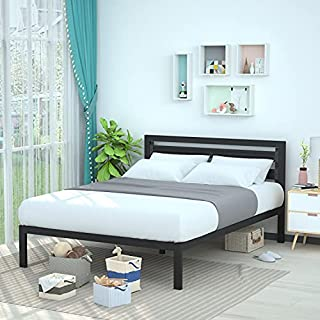 Amazon Basics Metal Bed with Modern Industrial Design Headboard - 14 Inch Height for Under-Bed Storage - Wood Slats - Easy Assemble, Queen, Black (B086TG9Q4V)   Amazon price tracker / tracking, Amazon price history charts, Amazon price watches, Amazon price drop alerts