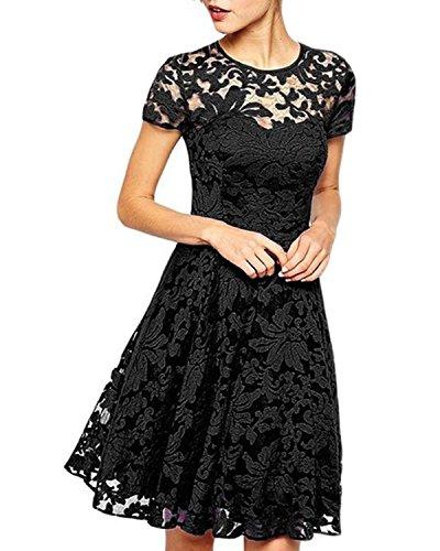 ZANZEA Mujer Vestido Encaje Elegante Cóctel Fiesta Manga Corta Vestido con Cuello Redondo 01-Negro 3XL