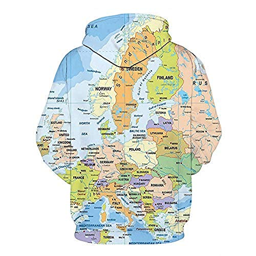 yyqx container Pulls Hoodies d'impression 3D Multicolor Europe Map Outdoor Couples Sweatshirts with Kangaroo Pocket-M