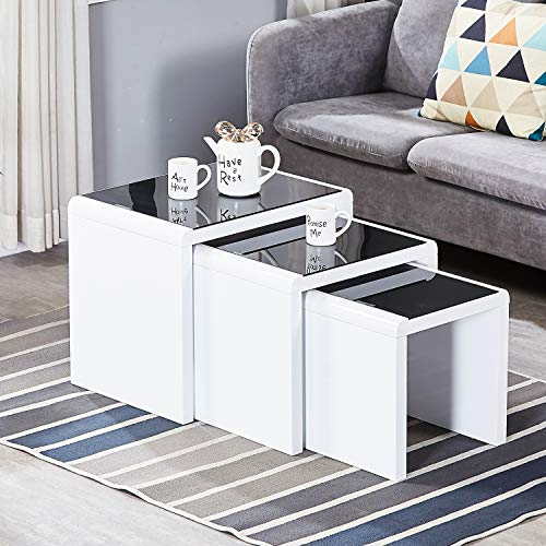AINPECCA Nest of Tables High Gloss White Nesting Tables with Black Tempered Glass Top (White, Black tempered glass top)