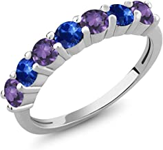 Gem Stone King 925 Sterling Silver Purple Amethyst and Blue Sapphire Women's Anniversary Ring (1.32 Ct Round, Available 5,6,7,8,9)