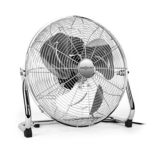 """OneConcept Metal Blizzard XL - Ventilator, Bodenventilator, Standventilator, leise, Chrom, 41 cm (16\"""") Rotorblätter, Metallkorb, 100 Watt, neigbar, 3 Geschwindigkeiten, Tragegriff, Silber"""