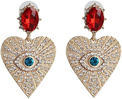 Statement Evil Eye Heart Crystal Drop Earrings Colorful Rhinestone Eyelash Cubic Zirconia Eyeball product image