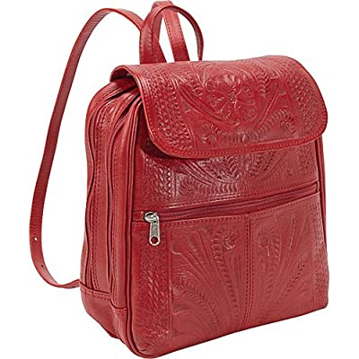Hand Tooled Backpack by Ropin West | Real Cowhide Leather | Unique Fashionable Bag for Women | Red
