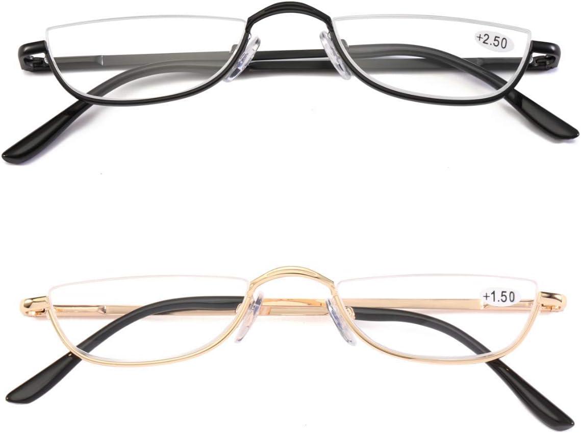 VISENG Half Frame Reading Glasses for Women Men Slim Half Moon Lens Readers  Metal 22020 pack Semi Rimless eyewear+22020.20