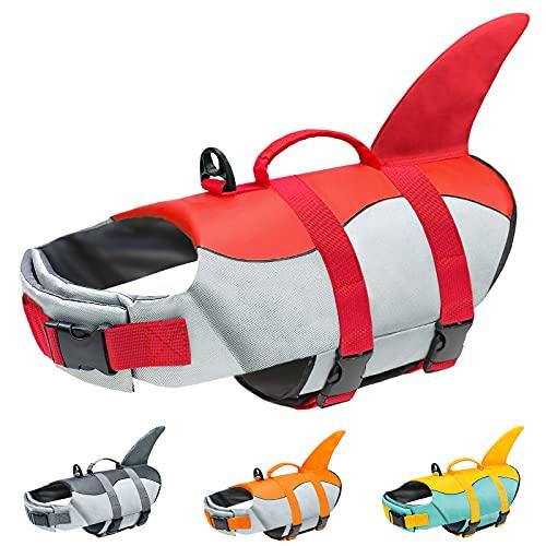 Malier Dog Life Jacket, Ripstop Dog Life Vest Adjustable Dog Life Preserver with Strong Buoyancy and...