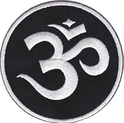 JAB Seller Parche termoadhesivo, diseño con texto 'Om Aum Meditation Yoga Sanscrito'